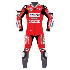 red motorcycle suit