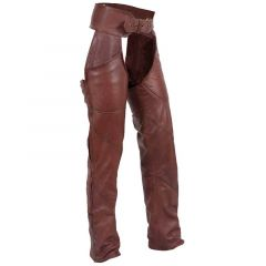 Antique Brown Leather Motorcycle Chaps front view