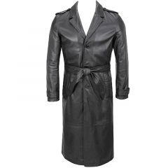 Long Leather Trench Coat front view
