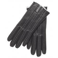 woman wearing black leather gloves