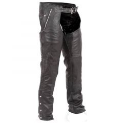 Biker Leather Chaps front view