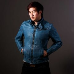 Blue Jazz Leather Jacket for Mens front view