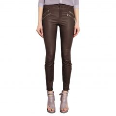 Brown Leather Pants Front View