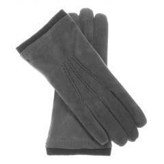 Cashmere Wool Lined Grey Suede Gloves upper view