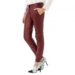 Cherry Leather Pants For Women Front View