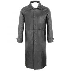Black Leather Trench Coat front view