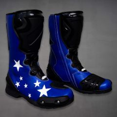 Colin Edwards Motorcycle Boots Blue 2002 WSBK side view