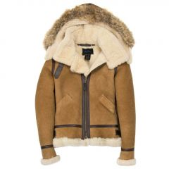Hooded Fur Suede Bomber Jacket Womens front view