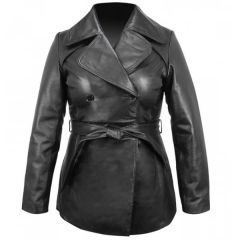 Ladies Leather Belted Pea Coat front view