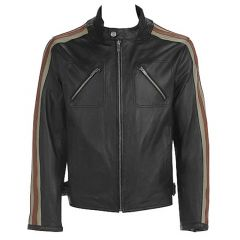 Leather Jacket With Stripes on Sleeves front view