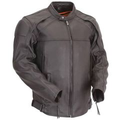 Leather Motorcycle Jacket with Reflective Piping front view