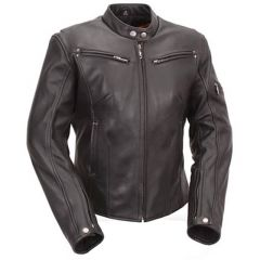 Leather Touring Jacket with Scooter Collar & Multiple Vents front view