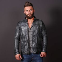 Men Casual Fashion Leather Frost Jacket front view