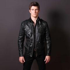 Men Leather Fashion Rockwell Jacket front view