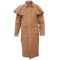 Leather Duster Coat Mens front view