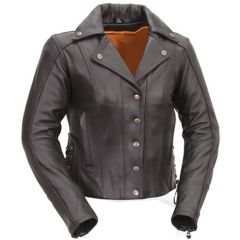 Modern Motorcycle Jacket with Snap Front view