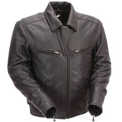 Naked Black Leather Bronson Hybrid Motorcycle Jacket front view