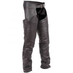 Premium Black Leather Motorbike Chaps front