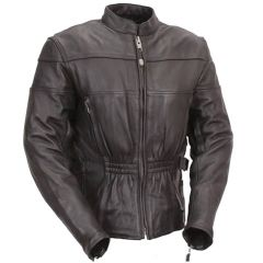 Premium Black Leather Motorcycle Touring Jacket front view
