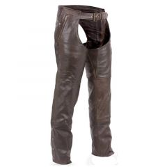 Premium Brown Leather Motorcycle Chaps front view