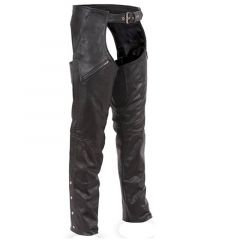 Premium Leather Biker Chaps front view