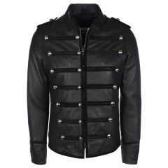 Prince Military Biker Leather Jacket front view