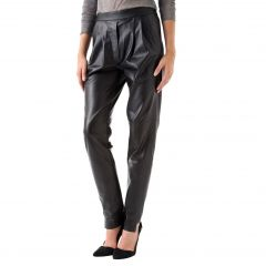 Ladies Leather Relaxed Pants Front View