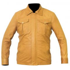 Shirt Style Camel Color Leather Jacket front view