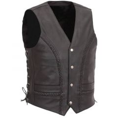 Side Lace & Braided Details Leather Vest front view