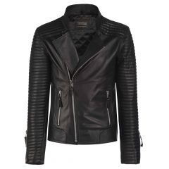 The Hunter Biker Leather Jacket front view
