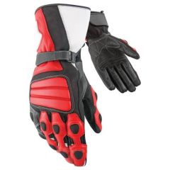 Tourist Red Leather Moto Gloves