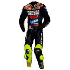 black leather motorcycle suit