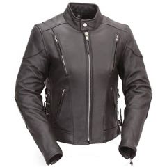 Vented Leather Scooter Style Jacket with Side Laces front view