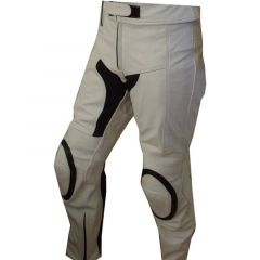 White Motorcycle Pants front view