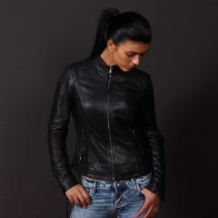 Women Leather Adore jacket closed front view