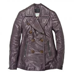 leather peacoat mens