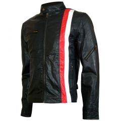Biker Style Leather Jacket front view