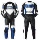 blue leather racing suit